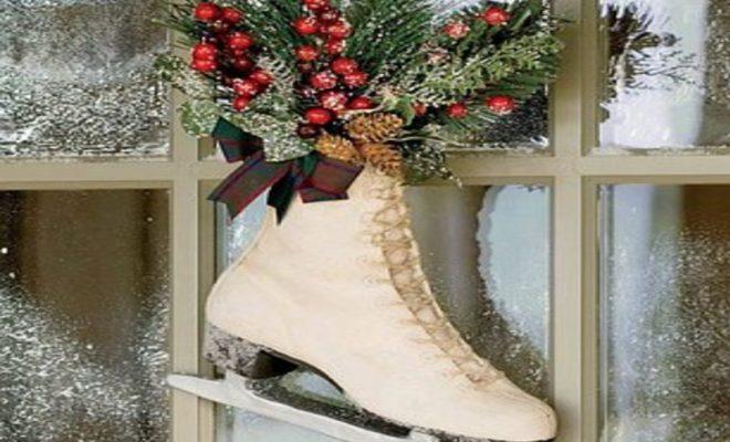 スケート靴と花